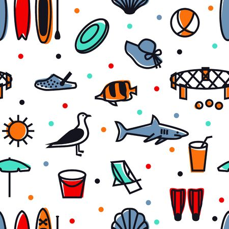 Summer Icons Seamless pattern Black line set Travel, vacation and weekend Isolated Vector illustration set