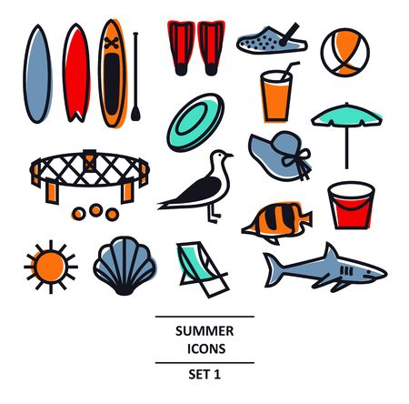 Summer Icons Black line set Travel, vacation and weekend Isolated Vector illustration set