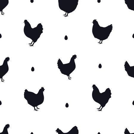 Chicken Black silhouette Seamless pattern Flat vector illustration set Vectores