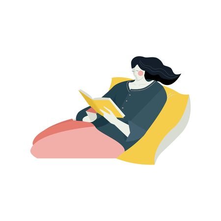 Young woman lies on yellow pillow with book Rest at home, distance studying and self education Books club World Book Day Flat vector illustration on white background set