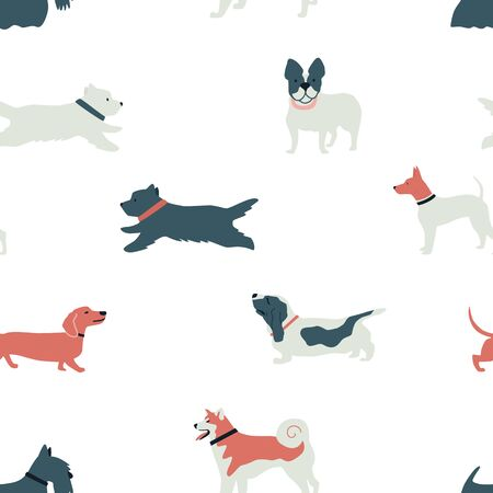 Funny Dogs Seamless pattern Flat vector illustration on white background set