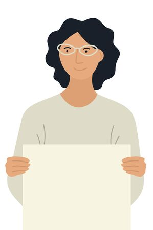 Young Woman with glasses holding blank paper Isolated vector flat illustration set