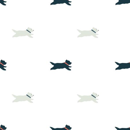 Funny white and black running dogs Flat vector illustration Seamless pattern set Illustration