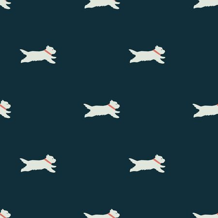 Funny white running dogs Flat vector illustration Seamless pattern Dark background set Illustration