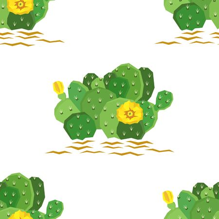 The eastern prickly pear cactus with yellow flowers Seamless pattern set Ilustrace