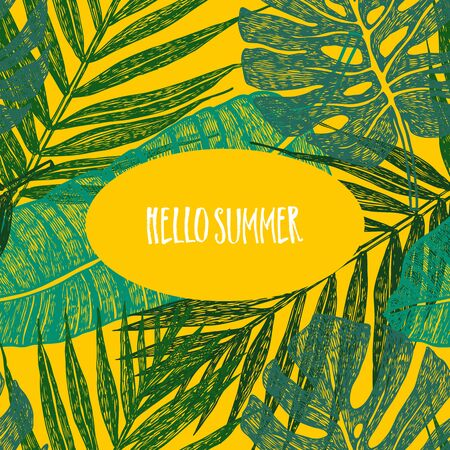 Tropical palm leaves on yellow background Hello summer Vector illustration set
