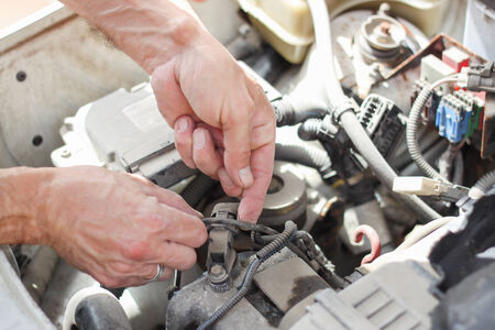 carburettor: Old car repairing Stock Photo
