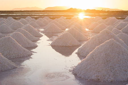 Sunset at salt marsh Stock Photo