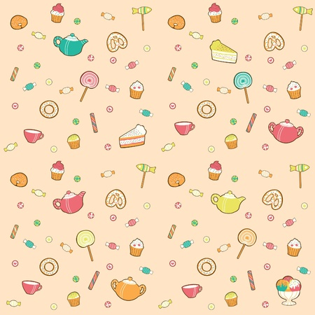 Candy pattern for tea. Retro style.