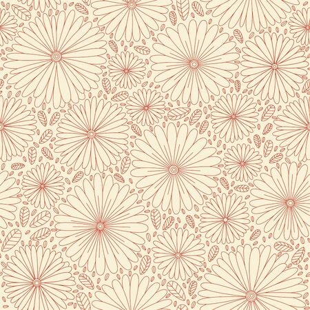 Seamless pattern with flowers, hand drawn style. Illustration
