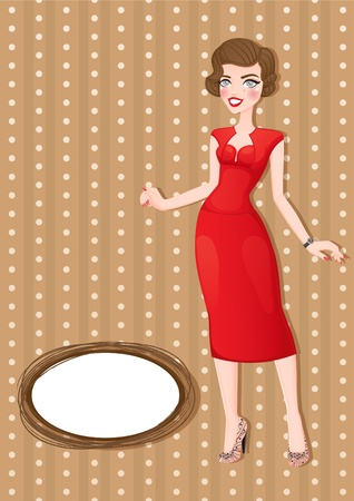 Retro card with business woman in red.