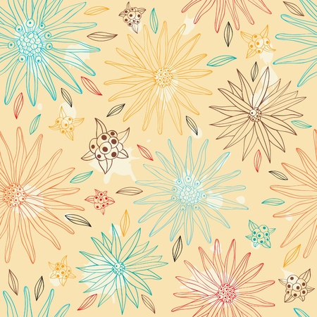 Seamless retro pattern with abstract flowers. Hand drawn style,