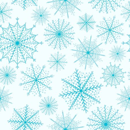 Winter pattern with snowflakes on blue background