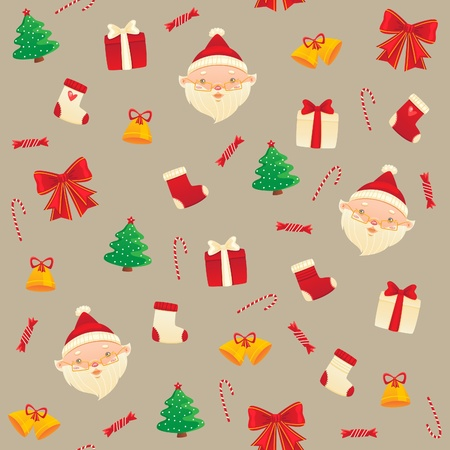 Winter pattern with Santa Claus for New Year and Christmas
