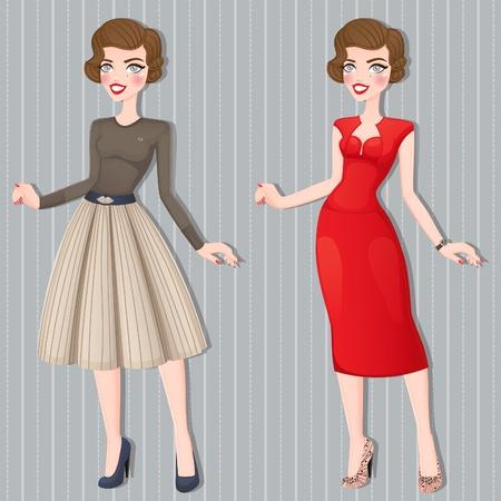 Retro girl in business attire  Vector