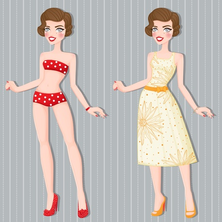 Retro girl in a summer version of the dress  Stock Vector - 12468056