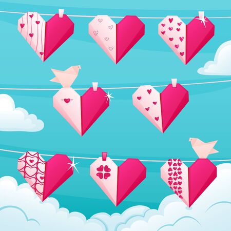 Valentines card on a rope  Origami style