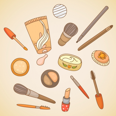 Cosmetics for make up. Hand drawn style. Vector
