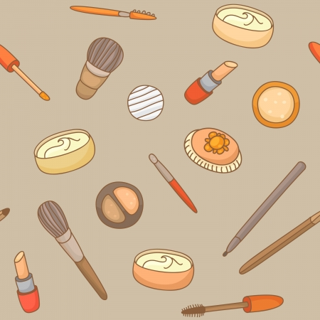 Hand drawn pattern with cosmetics Vector