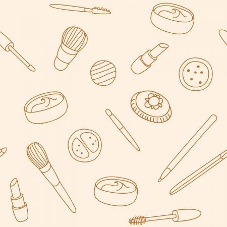 makeup powder: Hand drawn pattern with cosmetics