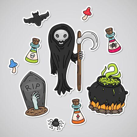 Dead Halloween icon set Illustration