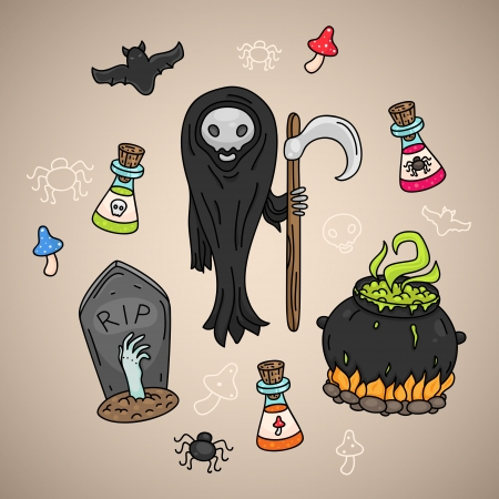 Dead Halloween icon set Vector