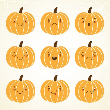 Pumpkin smiley: smiling, sadness, shock, happiness, laughing, angry, winking, sticking Out Tongue, weeping. Vector