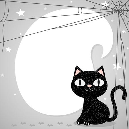 autumn cat: Black Halloween cat Illustration