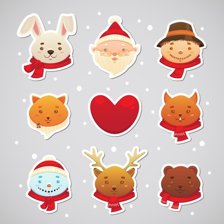 fur cap: Christmas sticker