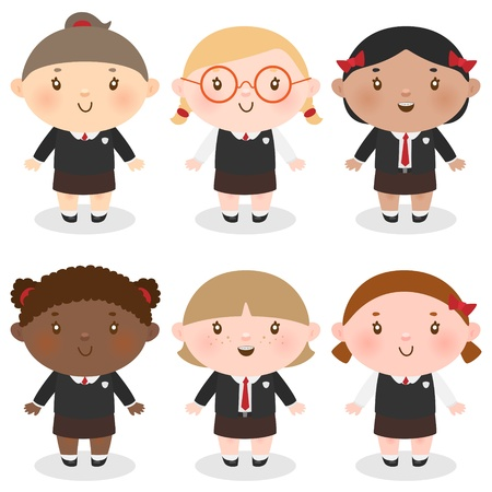Multi-Ethnic schoolgirl Stock Vector - 15141110