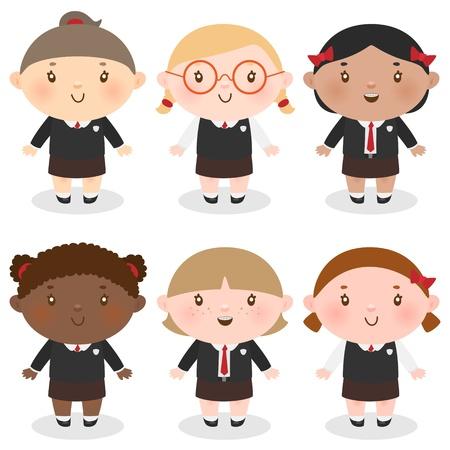 school girl uniform: Multietnico studentessa