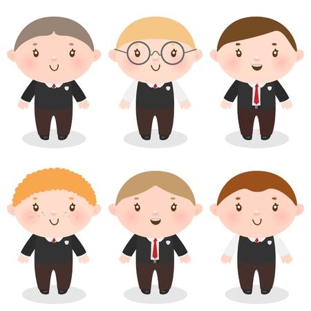 cute boys in school uniforms Illustration
