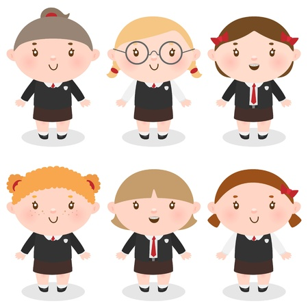 Сute girls in school uniforms Illustration