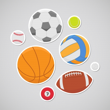 Balls for soccer, volleyball, basketball, baseball, tennis, golf, rugby, pool Vector