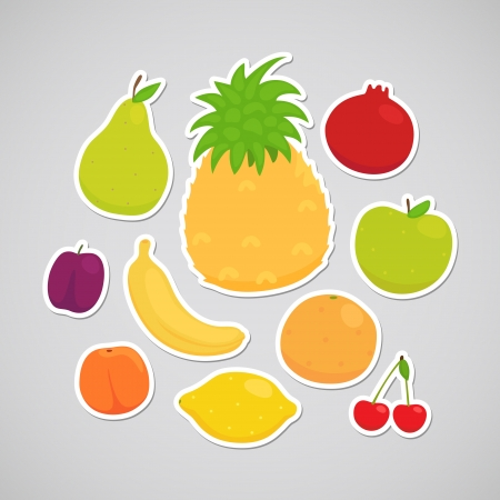 frutas divertidas: Frutas manzana, pera, lim�n, naranja, ciruela, cereza, pi�a, melocot�n, pl�tano, granada Vectores
