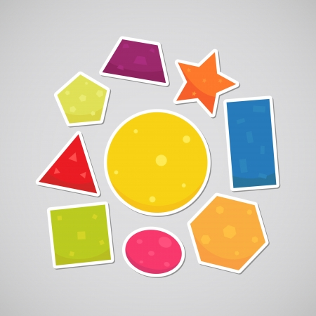 Geometric shapes  sguare, circle, oval, triangle, pentagon, hexagon, rectangle, star, trapezoid  Illustration
