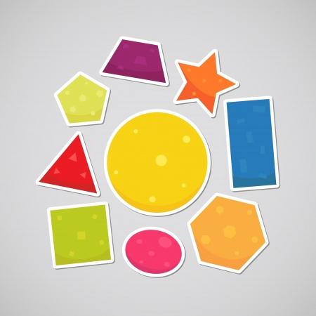 forme: Les formes géométriques sguare, cercle, ovale, triangle, pentagone, hexagone, rectangle, étoile, trapèze