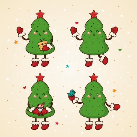 Christmas tree set  Winter time  Vector
