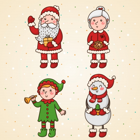 clip art santa claus: Christmas and new year characters Illustration