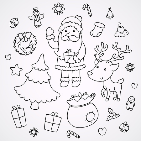 Christmas and New Year doodles Illustration