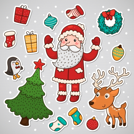 Christmas and new year stickers Vector