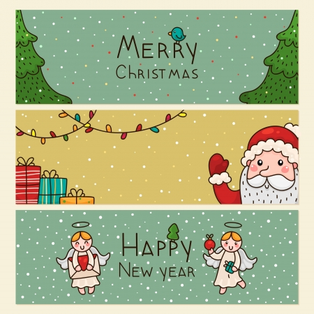 Christmas and new years horizontal banners Vector