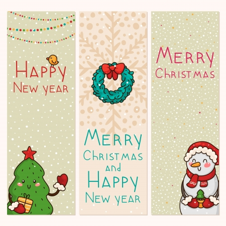 wreathe: Christmas and new years vertical banners Illustration