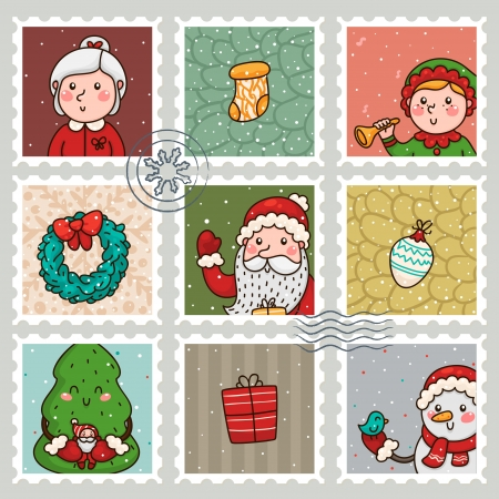 Christmas and new years stamps  Collection  Vector