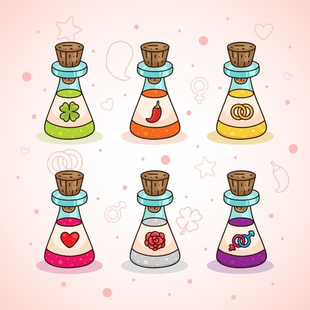 Love potions: clover - luck, chili - passion, ring - wedding, heart - love, rose - romance, male and a female symbol - sex