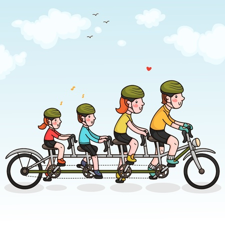 Family cycling Vector