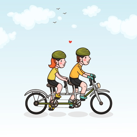 tandem bicycle: Couple cycling Illustration