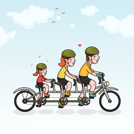 Family cycling  parents and daughter