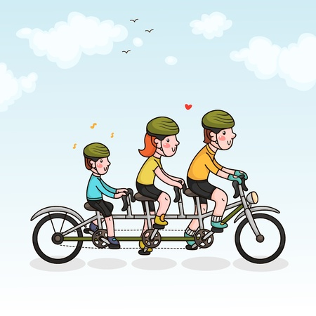Family cycling  parents and son