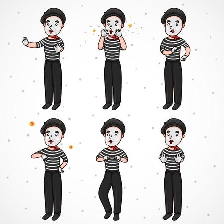 pantomima: Mime pared set, aaaaa, yahooo, tiempo, vaquero o un bailarín, deje de Vectores